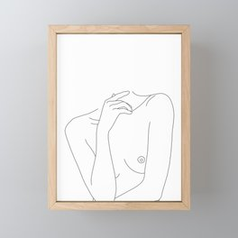 Woman's body line drawing - Cecily Framed Mini Art Print