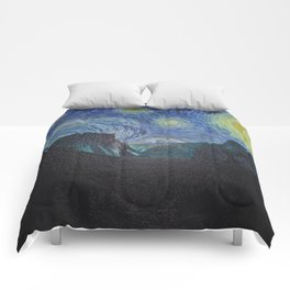 Vincent Van Gogh's Starry Night Over Yosemite National Park Comforters