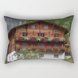 Swiss Alpine Chalet in Valais Switzerland Rectangular Pillow