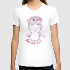 Floral Feminist Bitch SMALL White Womens Fitted Tee