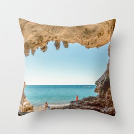 Stunning cave in the seacoast of Palinuro Cilento Italy Throw Pillow