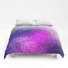 Hot Pink and Purple Paint Splatter Comforters