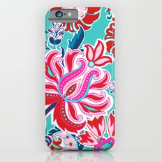 Bohemian Floral Paisley in Turquoise, Red and Pink Slim Case iPhone 6