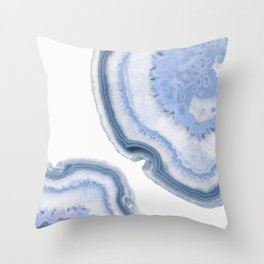 Airy Blue Agate Throw Pillow
