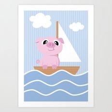 Mobil series pig sailboat Art Print