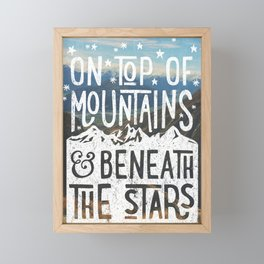on top of mountain and beneath the stars Framed Mini Art Print