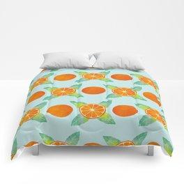 Watercolor Oranges Pattern in Blue Comforters