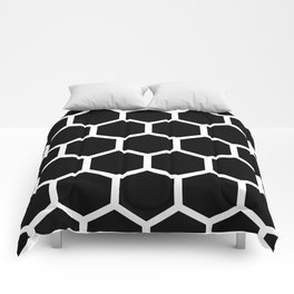 Honeycomb pattern - Black and White Comforters