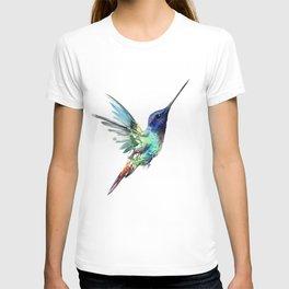 Flying Hummingbird flying bird, turquoise blue elegant bird minimalist design T-shirt