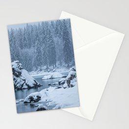 Heavy snow fall lake Fusine, Italy Stationery Cards