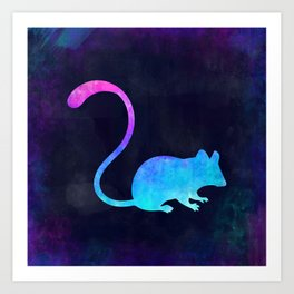 MOUSE IN SPACE // Animal Graphic Art // Watercolor Canvas Painting // Modern Minimal Cute Art Print