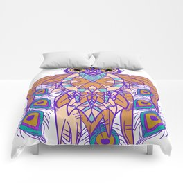 Tribal Peacock Owl Comforters