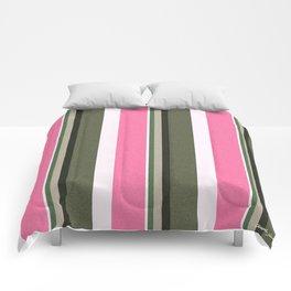 Pink Roses in Anzures 4 Stripes 5V Comforters