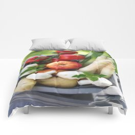 Wooden box with fresh fruit and vegetables Comforters