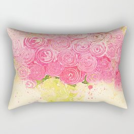 Sweet Swirly PINK RanuncuRoses -- Painterly Floral Abstract Still Life Rectangular Pillow