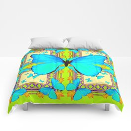 Turquoise Satin Butterflies On Lime & Cream Colors Comforters