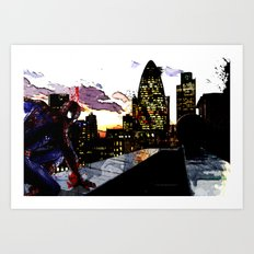 Spiderman in London Art Print