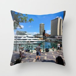 Busking Around Circular Quay Throw Pillow