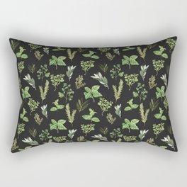 Delicate Herb Illustrations on Black Rectangular Pillow