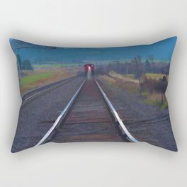 Wrong Side of the Track - Oncoming Train Rectangular Pillow