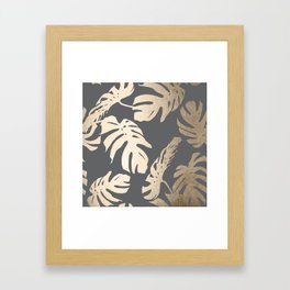 Simply Tropical Palm Leaves White Gold Sands on Storm Gray Framed Art Print