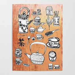 Chinese Tea Doodles 2 Poster