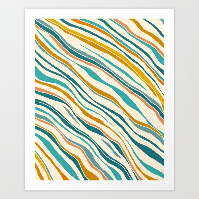 Summer Ocean / Teal & Gold Art Print