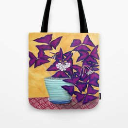 Purple Shamrock Houseplant Painting Tote Bag