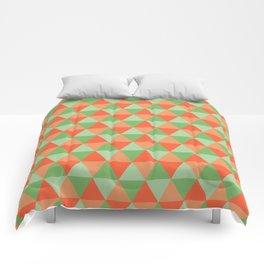 Retro Pattern Triangles Orange/Green Comforters