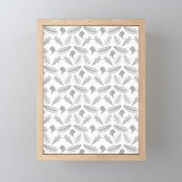 Black and White Fern Illustrated Print Framed Mini Art Print