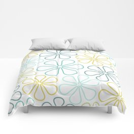 Abstract Flower Outlines Teals Yellow Lime White Comforters