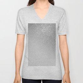 Diagonal Gray Silver Glitter Gradient Ombre Unisex V-Neck