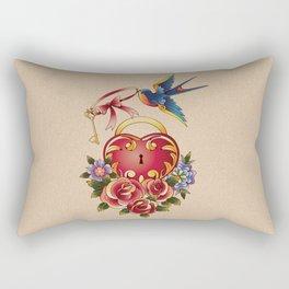 Old school True Love Lock and Key tattoo Rectangular Pillow