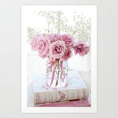 Watercolor Roses On Books  Art Print