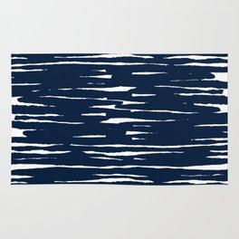 Maritime pattern- darkblue handpainted stripes on clear white- horizontal Rug