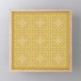 Embroided Tumeric Tapestry Framed Mini Art Print