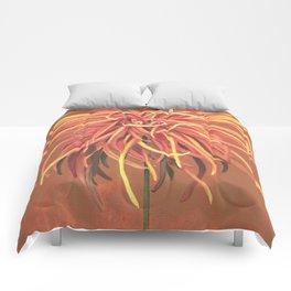 Big Orange Pop Art Chrysthanthemum Comforters