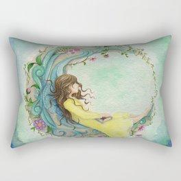 The Girl At The Moon Rectangular Pillow