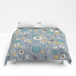 Emma_Wildflowers in Faded Denim Blue Comforters