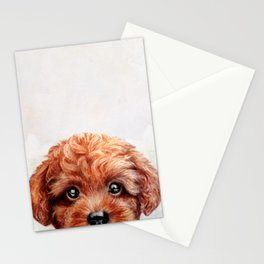 Toy poodle red brown Dog illustration original painting print Stationery Cards