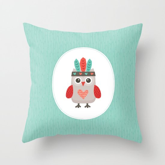 HIPSTER OWLET alternate version Throw Pillow