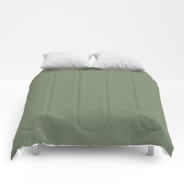 Solid Dark Camouflage Green Color Comforters
