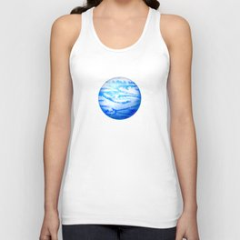 Illustration of watercolor round planet Unisex Tank Top