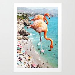 Flamingos on the Beach #society6 #decor #buyart Art Print