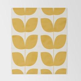 Mid Century Modern Leaves Yellow #society6 #buyart  Throw Blanket