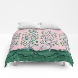 Citrus Grove Chinoiserie Mural in Pink Comforters