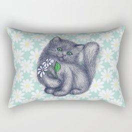 Cute Kitten with Daisies Rectangular Pillow
