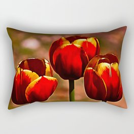 Midnight Blood Red Tulips Rectangular Pillow