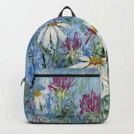 Wildflower Blues Garden Flower Acrylic Art Backpack