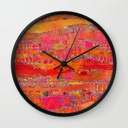 Firewalk Abstract Art Collage Wall Clock